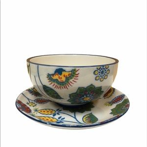 Floral bowl saucer dish set dining art ceramic